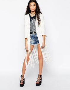 Image 1 of ASOS Slub Knit Kimono Cardigan With Fringing