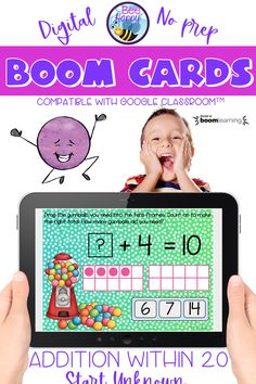 Addition within 20 Start Unknown Boom Cards Distance Learning Primary School Curriculum, Primary Classroom, Science Resources, Teaching Resources, Australian Money, Teaching Addition, Interactive Whiteboard, Vocabulary Games, Bilingual Education