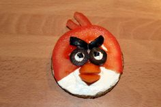 Angry Birds. Oatcakes with cream cheese, tomato, olives and carrot. Great for an after school snack.