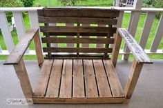 2 pallets nearly equal size 4 leg boards 2 arm boards pallet wood patio chair build via Funky Junk Interiors Diy Pallet Sofa, Pallet Furniture, Painted Furniture, Pallet Wood, Outdoor Furniture, Pallet Benches, Pallet Tables, Diy Wood, Furniture Ideas