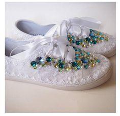 Adorno boda zapatos tenis zapatillas  elegante encaje blanco
