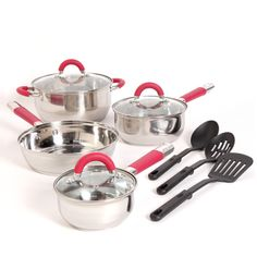 Shop for Gibson Red Stainless Steel Cookware Set. Get free delivery On EVERYTHING* Overstock - Your Online Kitchen & Dining Outlet Store! Cookware Set, Cooking Utensils, Helpful Tips, Highlight, Kitchen Dining, Pots, Home And Garden, Stainless Steel, Glass