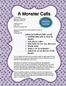 A Monster Calls Novel Unit with Differentiated/Interactive Notes Updated 11-2016