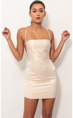 Dec 2018 - Party dresses > Lulu Satin Lace-up Dress in Champagne Homecoming Dresses Tight, Senior Prom Dresses, Hoco Dresses, Satin Dresses, Tight Dresses, Dance Dresses, Cute Dresses, Dress Outfits, Fashion Dresses