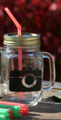 Customized drinking jar with handle by HeartlandDesgns on Etsy, $15.00
