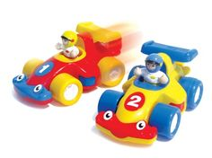 $19.98 WOW The Turbo Twins - Racing Cars (4 Piece Set). Friction-Powered Racing Car Team. And theyre off! Heres a marvellous motor racing team featuring two champion driver figures and two friction-powered racing cars with realistic engine sound. Magnetic hooks make them compatible with other products in the WOW World.