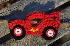 Crochet Hair Clip / Brooch Pin - RACE CAR. $5.50, via Etsy.