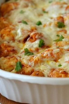 Great comfort food meal: bubble-up bake with barbecue chicken, cheese and biscuits!