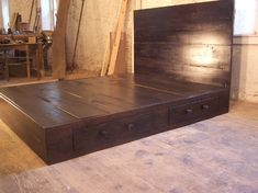 Reclaimed Modern Style Platform Bed with Headboard and 2 Drawers. $1,145.00, via Etsy.
