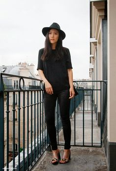parisian street style, casual, black on black