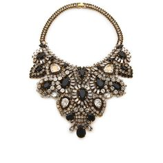 Aerin Erickson Beamon Statement Bib Necklace - Black/Gold (3.980 BRL) ❤ liked on Polyvore featuring jewelry, necklaces, accessories, colares, joias, gold statement necklace, gold necklace, gold bib necklace, swarovski crystal necklace and yellow gold necklace