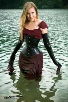 Latex Corset and Opera Gloves