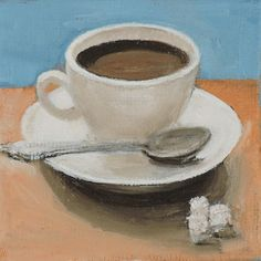 Coffee Original Mini Oil Painting  Small by TinaPetersenArt