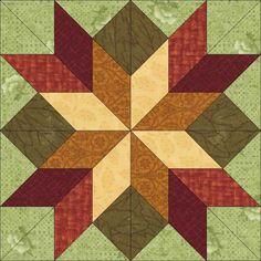 Hidden Star Block #42 Fall colors dream castle quilts
