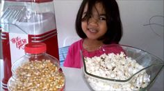 4 Yr Old Girl Makes Popcorn using Nostalgia Air Popcorn Maker by Mandy K...