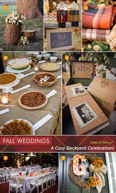 Ideas for a cozy backyard wedding in the fall with a cider bar, pie table, and gorgeous long reception tables