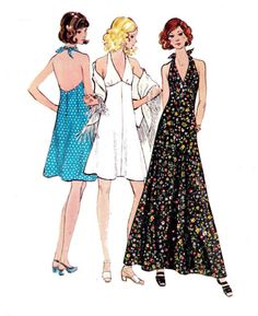 1970s Halter Dress or Maxi Pattern by allthepreciousthings on Etsy, $12.00