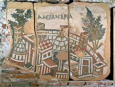 Mosaic showing a view of the city of Alexandria 6th century Byzantine
