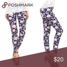 "New! MEGA SOFT Navy and Pink Floral Leggings MEGA SOFT peach skin fabric. Multicolor knit navy and pink floral print, full-length leggings in a slim fitting style w/ an elastic high waist band.  Fabric 92% Polyester 8% Spandex OSFM sizes ( 2-12)  26"" inseam  Cold water wash #unicorn #halloween ootd mom and me rare #workout #lounging back to school trick or treat Coachella festival present gift sexy maternity yoga vacation party #suggested rocker party fall cozy Happy Organics Boutique Pants…"