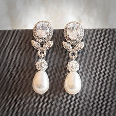 Statement Bridal Earrings, Swarovski Teardrop Pearl Wedding Earrings, Art Deco Crystal Leaf Pearl Dangle Earrings, Wedding Jewelry, RUBIE