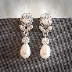Statement Bridal Earrings, Swarovski Teardrop Pearl Wedding Earrings, Art Deco Crystal Leaf Pearl Dangle Earrings, Wedding Jewelry, RUBIE