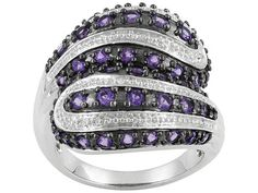 Brazilian Amethyst 1.93ctw Round With Diamond Accent Round Sterling Silver Ring