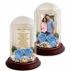 Anniversary Gift for Wife, Husband, Girlfriend or Boyfriend – Love Poem and Preserved Roses in Glass Dome – Add Photo: Wedding anniversary gift