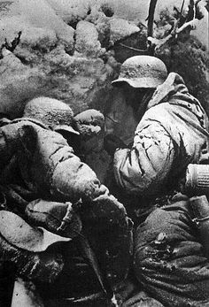 Two German soldiers in a trench during the Battle of Stalingrad.