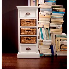 Whitehaven Mahogany Medium Storage Unit With 3 Rattan Baskets - - Chest Of Drawers - NovaSolo - Space & Shape - 4 Black Furniture, Painted Furniture, Furniture Storage, Cottage Furniture, Classic Furniture, Bedroom Furniture, Media Storage Unit, Console, Small Lamps