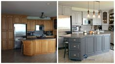 Before and after painted oak kitchen cabinets in gray | Kylie M E-design