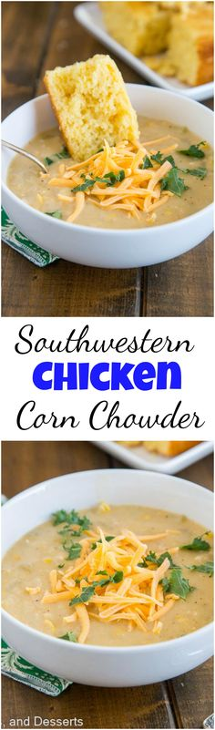 Lower Excess Fat Rooster Recipes That Basically Prime Southwestern Chicken Corn Chowder - A Super Fast And Easy Soup You Can Make Any Night Of The Week. This Recipe For Corn Chowder Is Thick, Creamy, And Actually Good For You Best Soup Recipes, Chowder Recipes, Chicken Soup Recipes, Chili Recipes, Easy Dinner Recipes, Favorite Recipes, Amazing Recipes, Delicious Recipes, Tasty