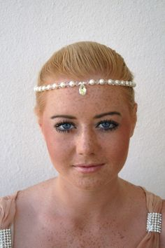 Bridal Circlet Forehead Necklace In Crystal and Pearls With Central Crystal Teardrop. Bridal Tiara. Wedding Headdress