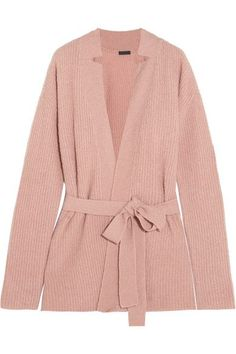 ATM Anthony Thomas Melillo - Belted Ribbed Wool-blend Cardigan - Pink