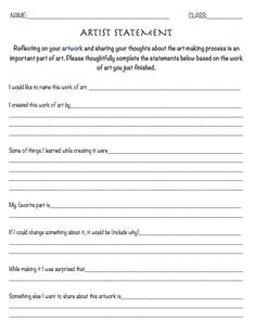 Resource: Artist Statement Worksheet – Reflection leaf art education, art class exam Source by monicacohenart Middle School Art, Art School, High School, Art Analysis, Art Critique, Art Handouts, Art Education Resources, Art Rubric, Art Criticism
