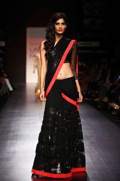 Heavy Sarees For Wedding - Red & Black by Manish Malhotra