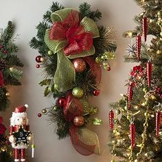 Holly Jolly Ribbon Teardrop Wreath