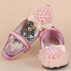 Pink Patent Leather Beaded Low Heel Girls Pageant Party Mary Jane Shoes SKU-133199