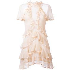 Alexander McQueen ruffled mini dress (€1.395) ❤ liked on Polyvore featuring dresses, alexander mcqueen, ruffle dress, pink dress, short ruffle dress, pink ruffle dress and mini dress