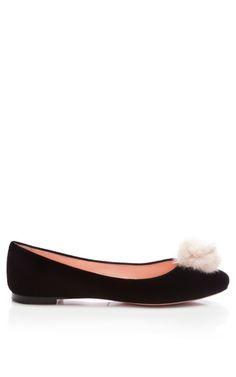 8dacc0574042 Medium nina ricci black velvet flats with mink pom pom Ballerina Flats
