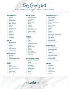 Easy Grocery List (How to have the perfect stocked fridge and pantry!) FREE PRINTABLE - ideas to hang stockings with no fireplace - Healthy Recipes Shopping List Grocery, Grocery Store, Simple Grocery List, Gourmet Recipes, New Recipes, Budget Recipes, Drink Recipes, Vegan Recipes, Shopping