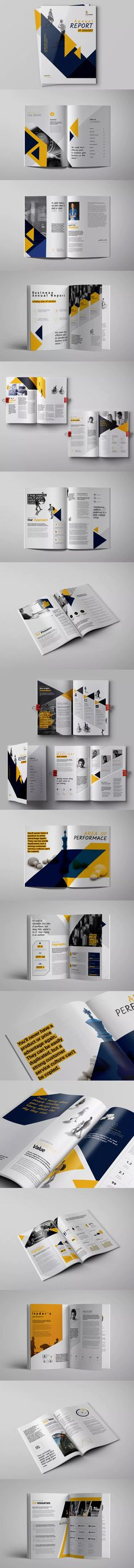Landscape Annual Report Template InDesign INDD A4 and US Letter - business annual report template