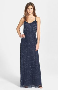 Adrianna Papell Beaded Chiffon Blouson Gown available at #Nordstrom Color: Silver gray. $298--Backordered until 9/16!!