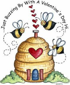 My Funny Valentine 2 - Laurie Furnell My Funny Valentine, Valentines, Valentine Ideas, Buzz Bee, Bee Art, Bee Crafts, Cute Clipart, Country Paintings, Valentine's Day Quotes