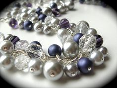 Silver purple crystal pearl bridesmaid by JustMadeJewelry on Etsy, $20.00