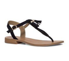 Sandale plate croûte de cuir noire