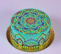Enjoy your birthday! Buttercream Mandala Cake on Cake Central Pretty Cakes, Beautiful Cakes, Amazing Cakes, Mehndi Cake, 40th Birthday Cakes, Happy Birthday, Occasion Cakes, Fancy Cakes, Love Cake