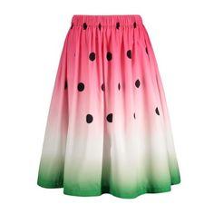 Watermelon High Waist Skirt ($16) ❤ liked on Polyvore featuring skirts, high-waisted skirts, high rise skirts, high waisted knee length skirt, high waist skirt and pink high waisted skirt