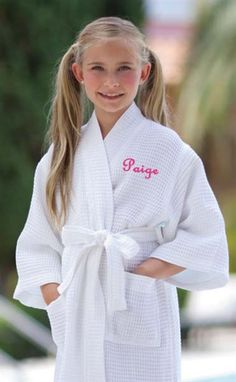flower girl gift- personalized monogrammed white waffle weave robe for the flower girl to wear while she is getting ready