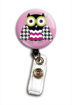 Pink Owl retractable badge holder. $7.99