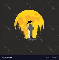 Crow on a cross in the moonlight Vector Image by samandale